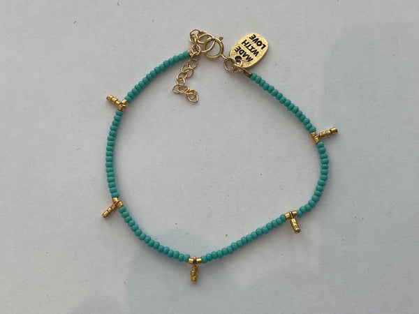 Kisongo Collection: 5 Drop Kisongo Bracelet (Turquoise & Gold)