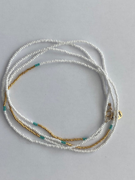 Endito Collection: Long Endito Multi Wrap (White, Gold, Turquoise)