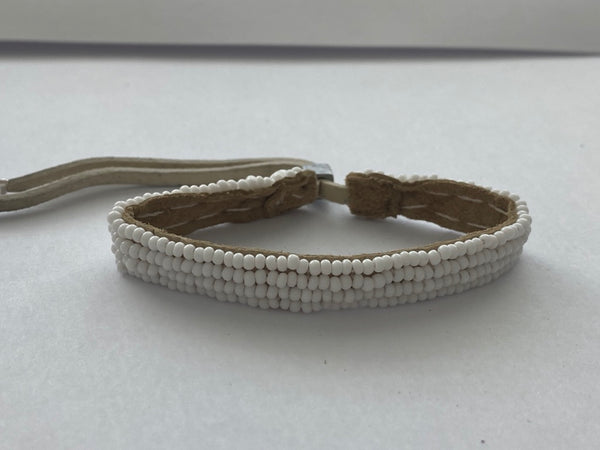 Sipolio Collection: Adjustable Leather Bracelet (White)