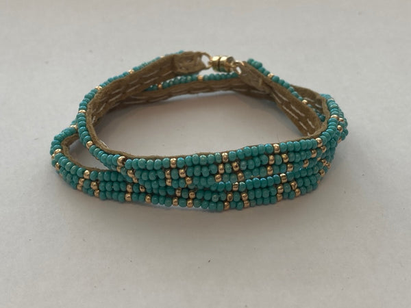 Sipolio Collection: 3 Dot Triangle Extra Small Double Wrap Leather Bracelet (Turquoise, Gold)