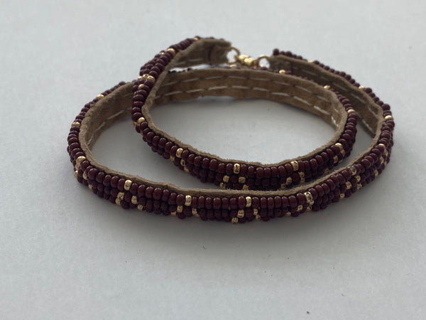 Sipolio Collection: 3 Dot Triangle Extra Small Double Wrap Bracelet (Burgundy, Gold)