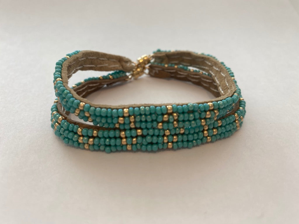Sipolio Collection: 3 Dot Triangle Extra Small Leather Bracelet (Turquoise, Gold)