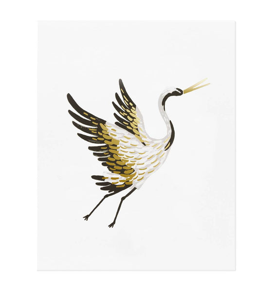 Framed Crane Art Print (8x10)