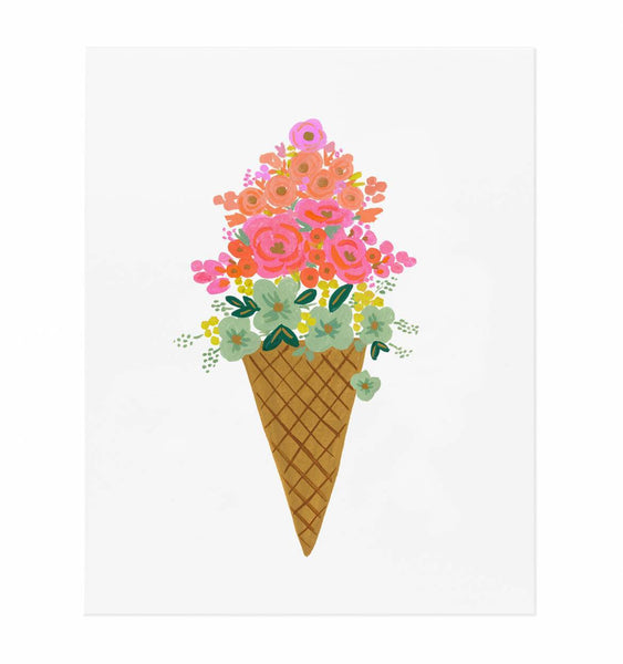 Framed Ice Cream Cone Print (8x10)