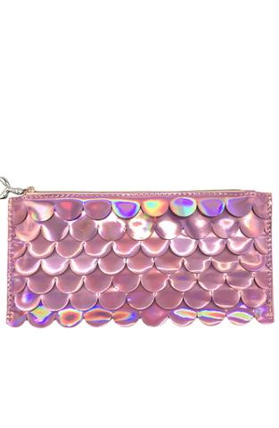 Holographic Scales Pink Pencil Pouch