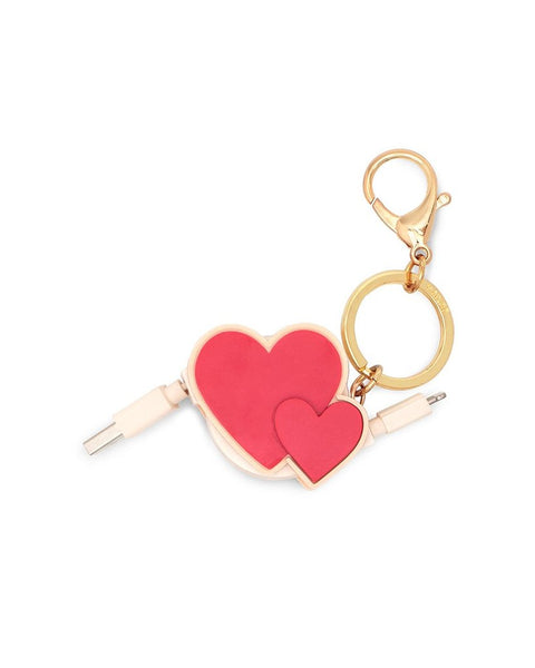 retractable charging cord with keychain, cluster hearts