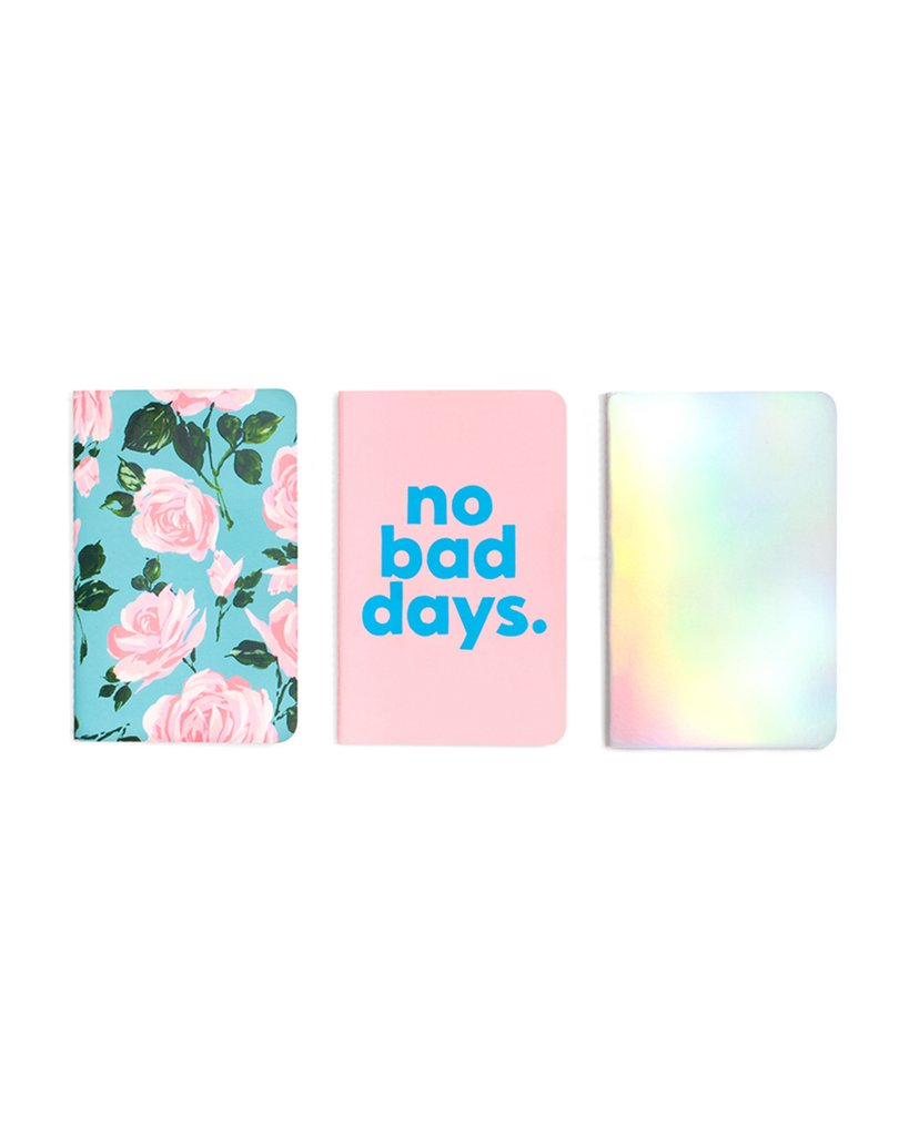 hold that thought notebook set, rose parade/holographic/no bad days