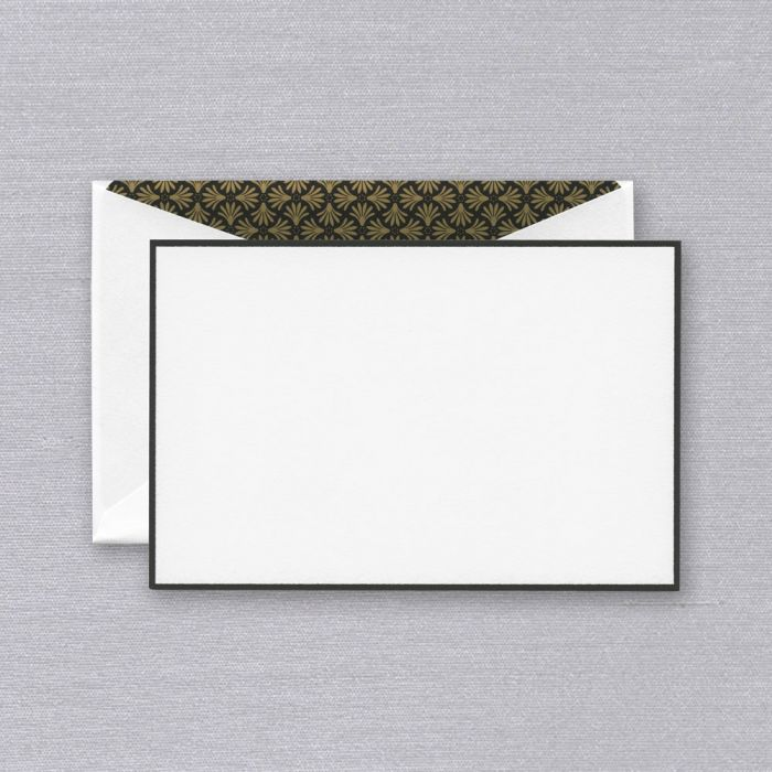 Black Bordered Correspondence Card with Elegant Palm Lining S/10