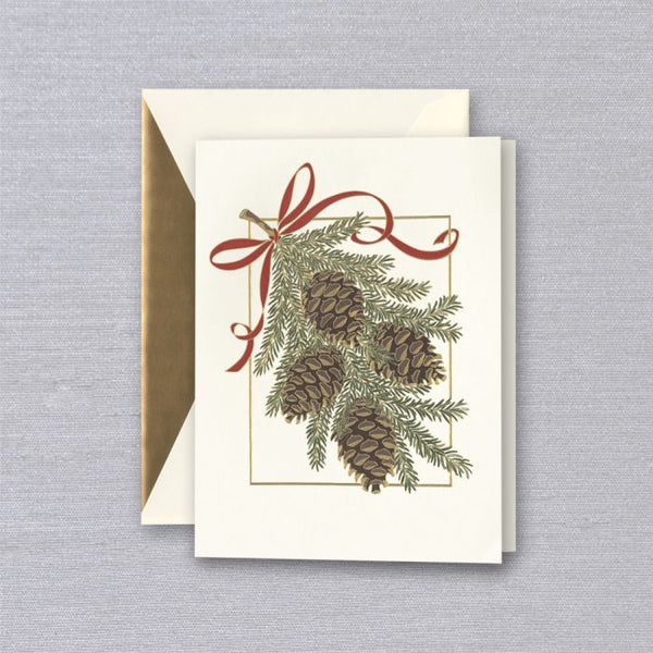 Engraved Holiday Pinecones Greeting Card S/10