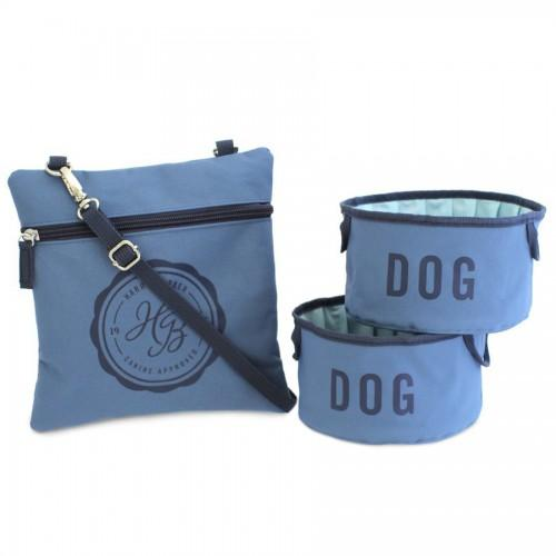 Travel Bowls with Pouch Large Blue