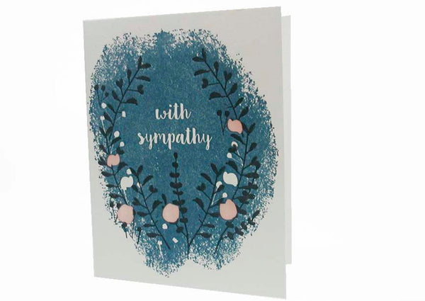 "Night garden ""With Sympathy"" letterpress card"