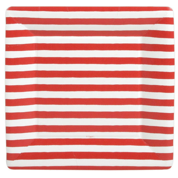 Red and White Stripe Square Plate