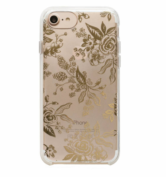 Clear Gold Floral Toile Phone Case - 8, 7, 6, 6s, Plus