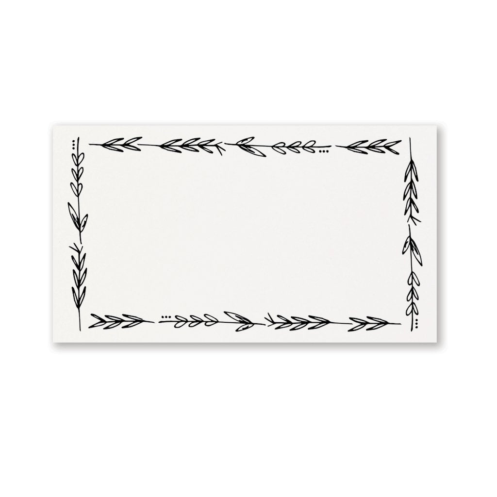 Black & White Floral Place Cards - S/25