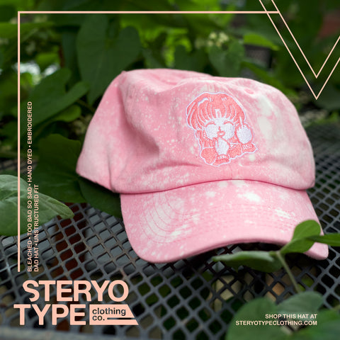 Too Bad Pink Bleached Hat - Steryo Type Clothing & Psycho Babble