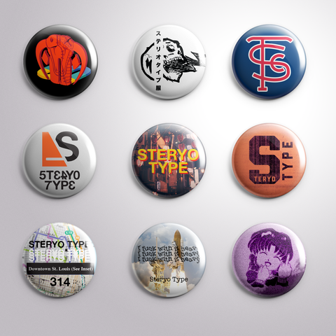 Steryo Type Button Pack - Steryo Type Clothing & Psycho Babble