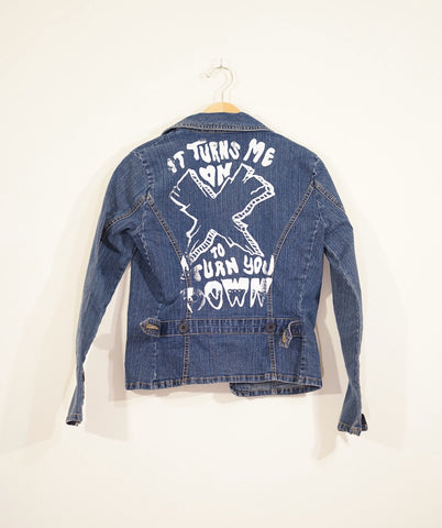 One off: Turns Me On To Turn You Down Denim Jacket - Steryo Type Clothing & Psycho Babble