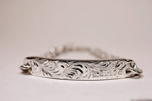 8mm Sterling Silver Fancy Scroll ID Bracelet