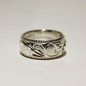 8mm Coin Edge Fancy Scroll Plumeria Sterling Silver Ring