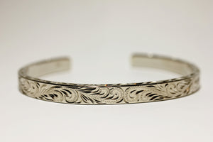 8mm Sterling Silver Fancy Scroll Cuff Bangle