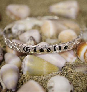 8mm Sterling Silver Scallop Edge Personalized Hawaiian Heirloom Bangle - Hawaiian Jewelry