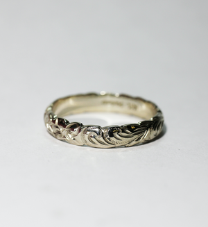 4mm Silver Sterling Hawaiian Heirloom Scallop Edge Plumeria Fancy Scroll Ring - Hawaiian Jewelry