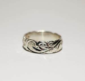 6mm Sterling Silver Hawaiian Heritage Scallop Edge Plumeria and Fancy Scroll Ring - Hawaiian Jewelry