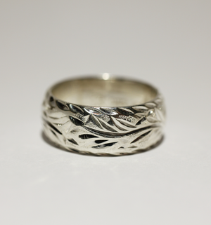 8mm Sterling Silver Hawaiian Heritage Bird of Paradise Diamond Cut Edge Ring - Hawaiian Jewelry