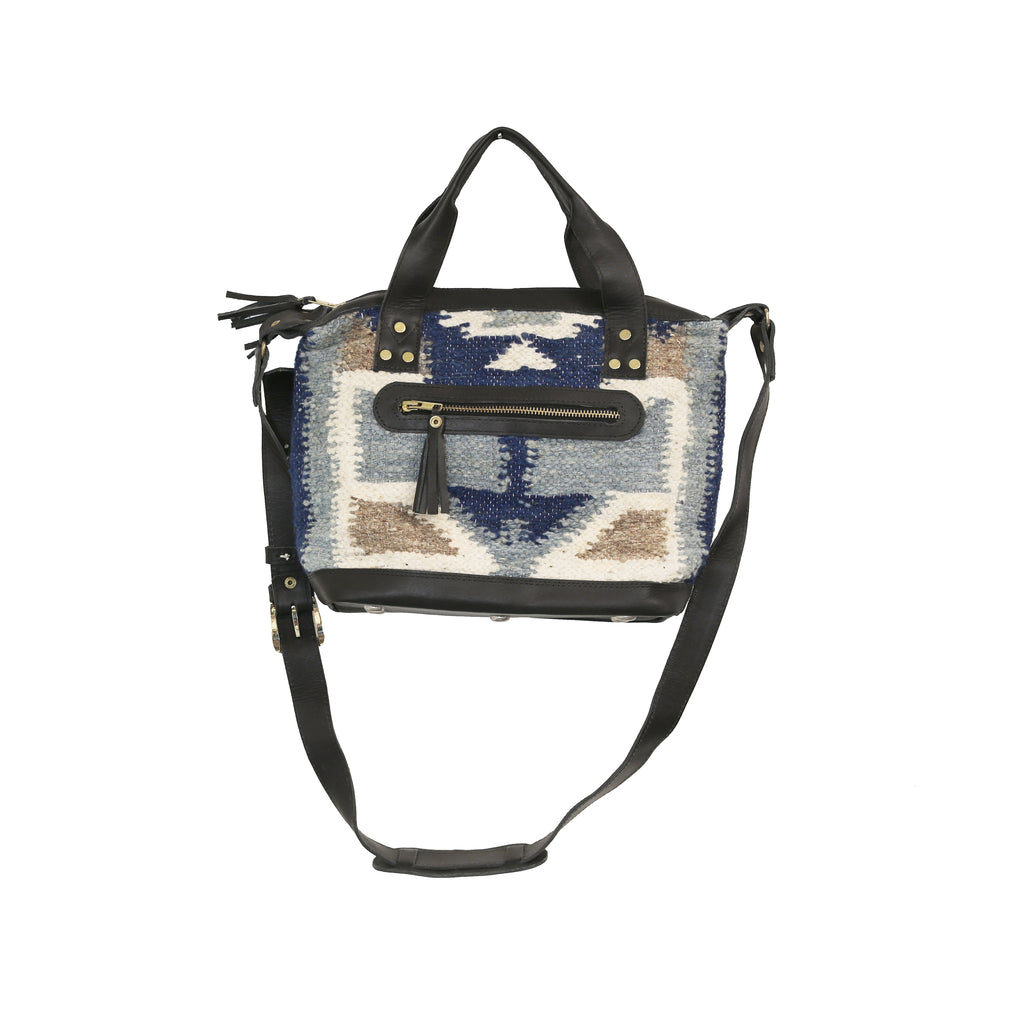 The 'Gigi' Crossbody in Two-Tone Blue Geo (all wool/black leather)