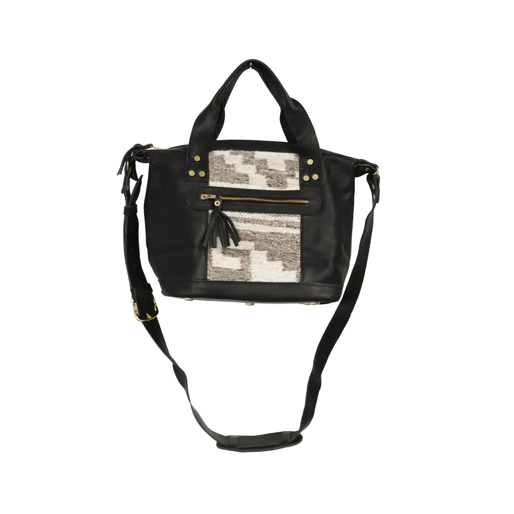 The 'Gigi' Crossbody in Grey Stripe (black leather)