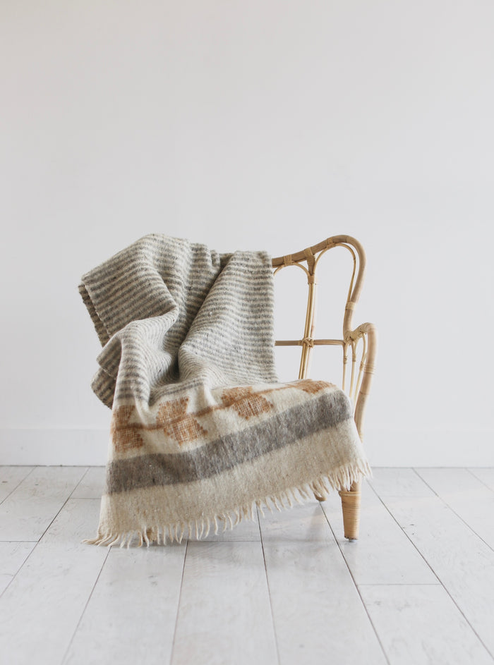 Artisan Wool Blanket in Mustard and Grey