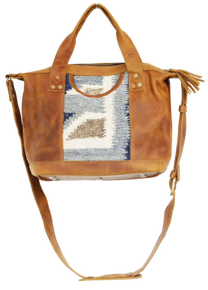 The 'Gigi' Crossbody in Two-tone Blue Geo