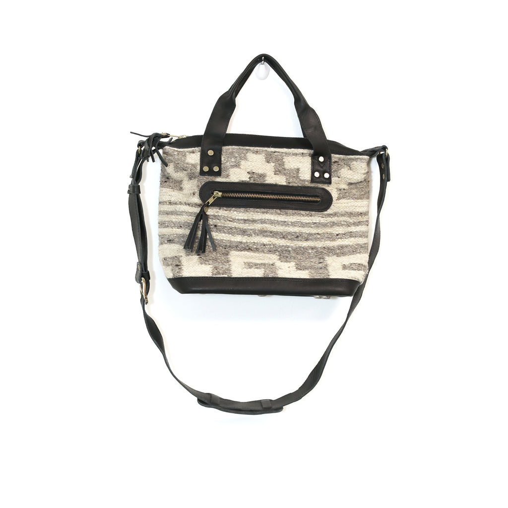 The 'Gigi' Crossbody in Grey Stripe (all wool/ black leather)