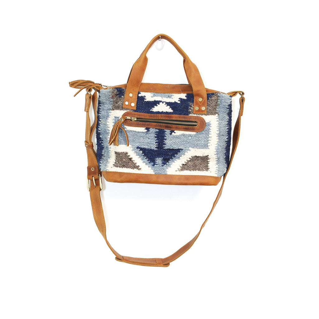 The 'Gigi' Crossbody in Two-Tone Blue Geo (all wool)