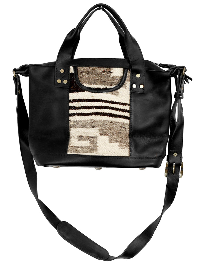The 'Gigi' Crossbody in Chocolate Stripe (black leather)