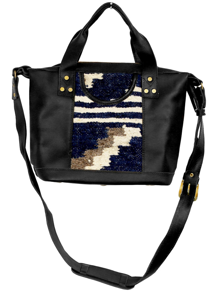 The 'Gigi' Crossbody in Indigo Stripe (black leather)