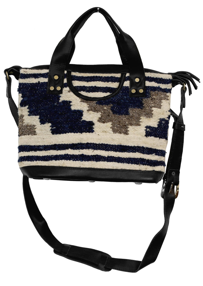 The 'Gigi' Crossbody in Indigo Stripe (all wool/ black leather)