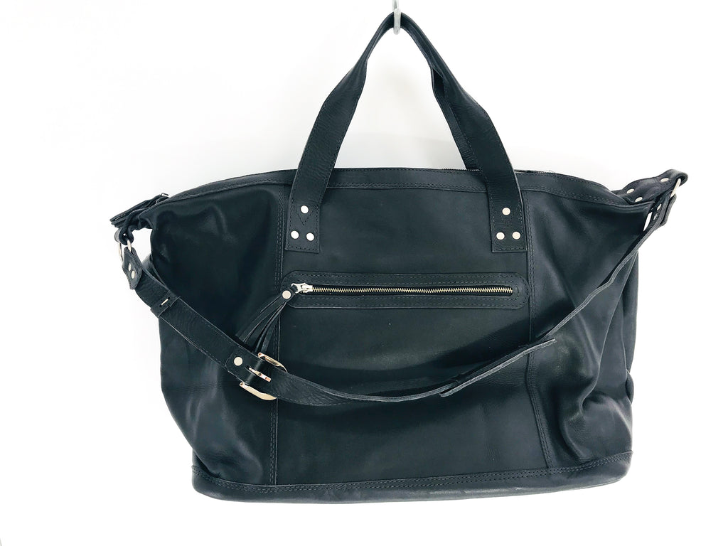The 'Luna' Overnighter in Vintage Huipil #044 (black leather)