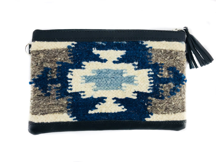 New 'MIA' Clutch Blue Geo (black leather)