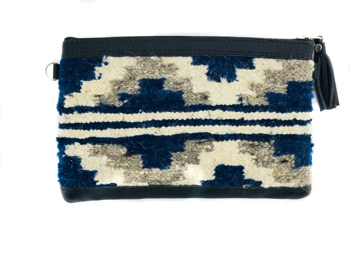 New 'MIA' Clutch Indigo Stripe (black leather)