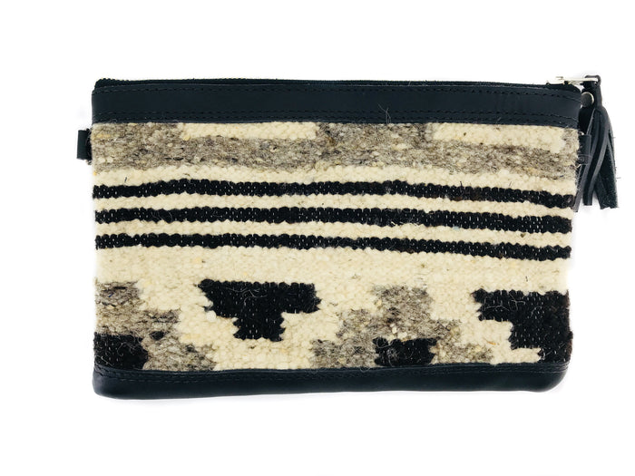 New 'MIA' Clutch Chocolate Stripe (black leather)