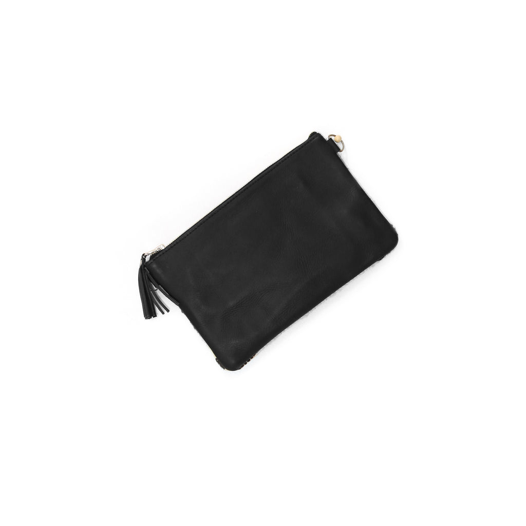 The 'Mia' Clutch in Vintage Huipil #061 (black leather)