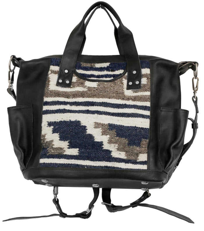 The 'Coco' Convertible in Indigo Stripe (black leather)
