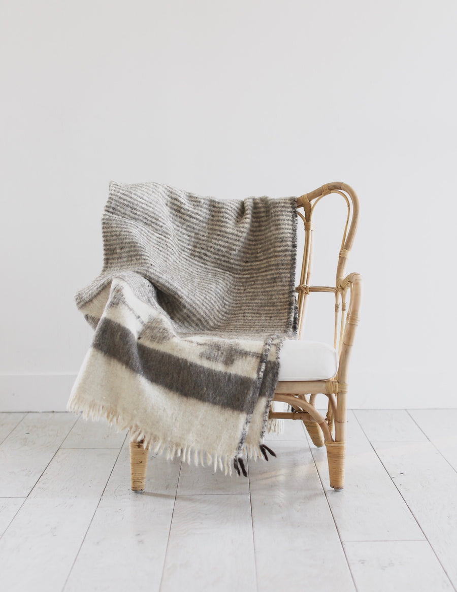 Artisan Wool Blanket in Grey