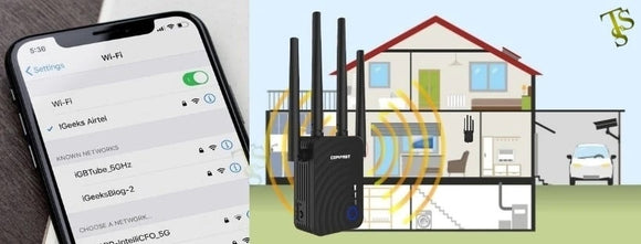Comfast, the new repeater Wi-Fi, extended range wireless, 2.4/5 GHz dual band with 04 Ethernet antennas