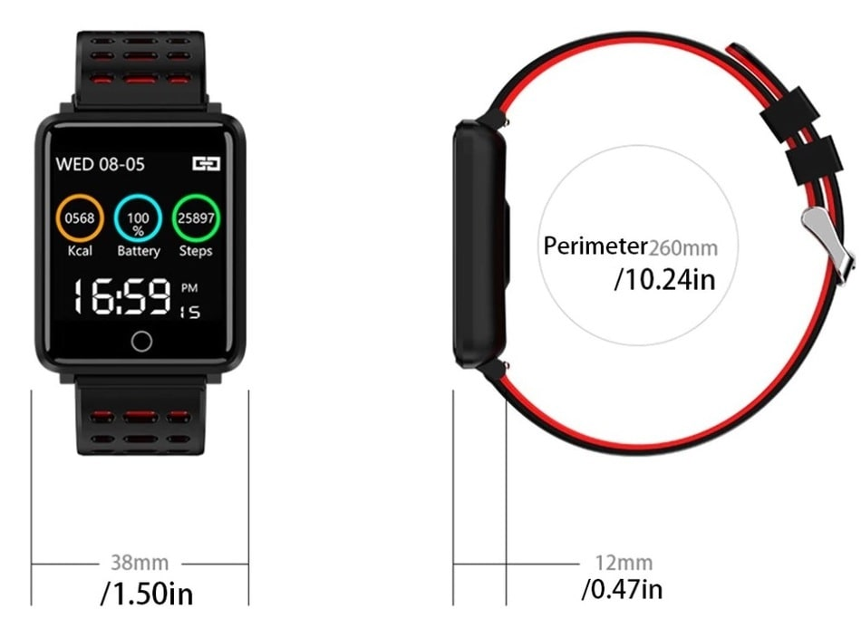 Dimensions for Square Smart Watch Bracelet, IP68