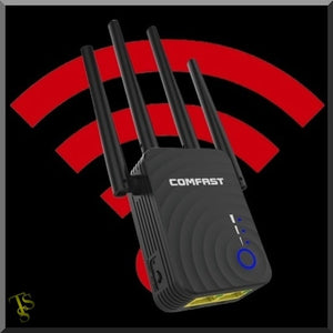 Wi-fi repeater, high-power dual band, signal Booster indoor. Comfast 1200 Mbps.