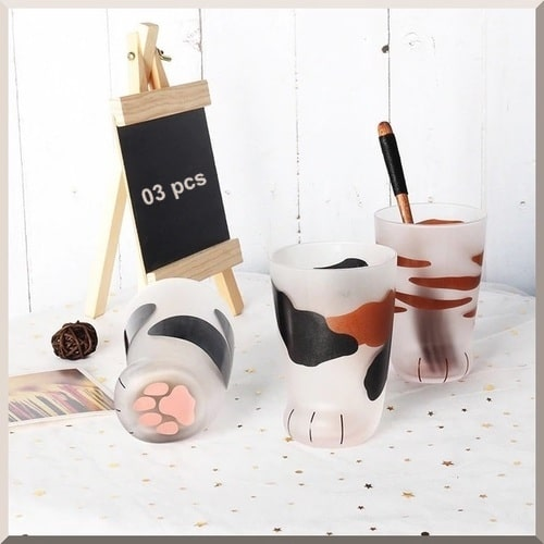 Offer / Pack 03 PCS, Cat's Foot- Glass Coffee Mugs