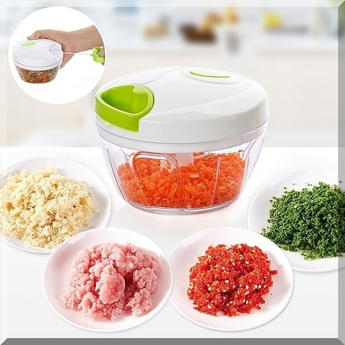 Manual three-blade food chopper.