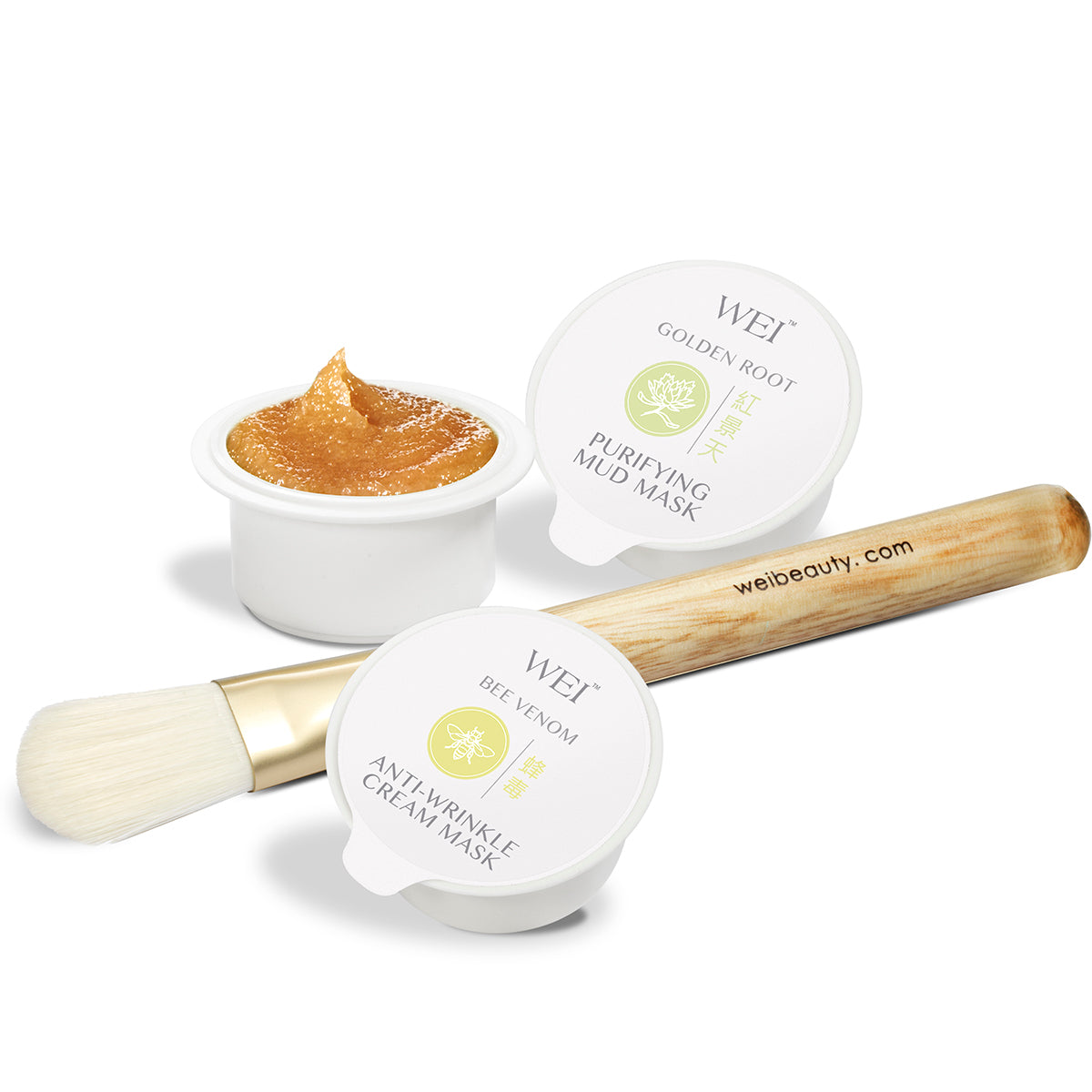 Bee Venom Anti-Wrinkle Cream mask, Brown Sugar Ready Exfoliating Mask, Golden Root Purifying Mud Mask with brush applicator